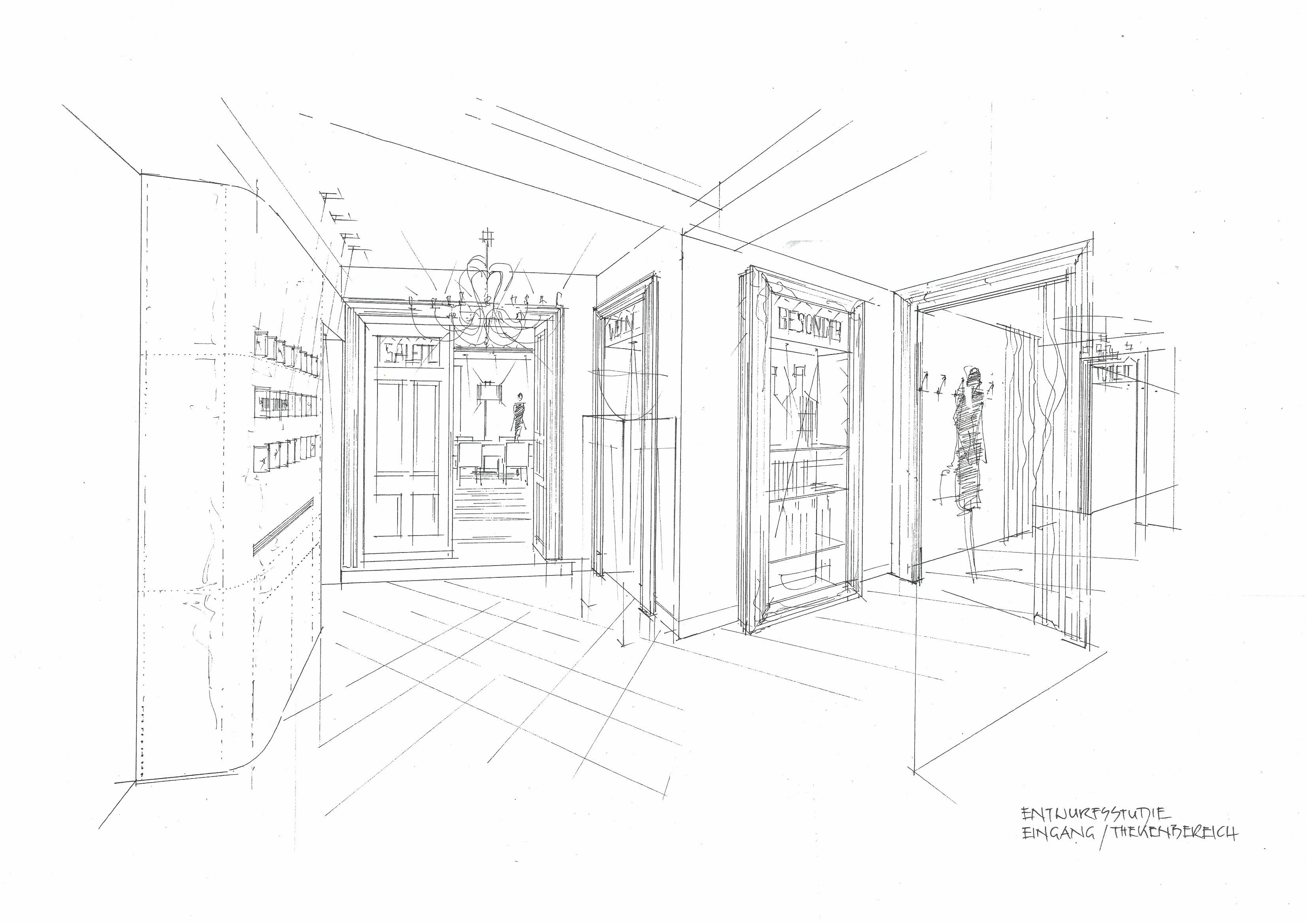 Eingangsbereich im Gasthaus Haberl Skizze