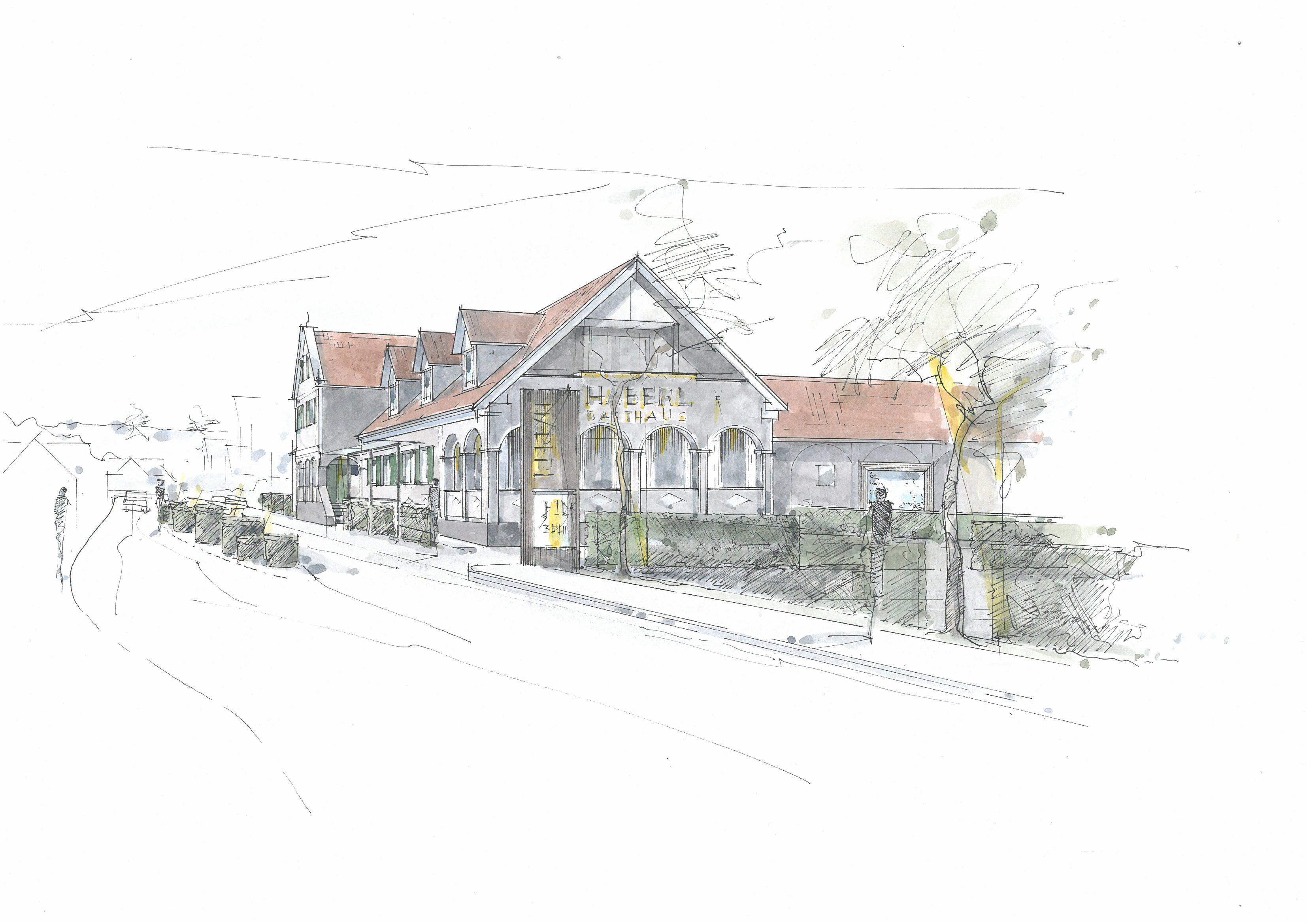 Zeichnung vom Gasthaus Haberl von außen